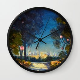 Nighttime Garden View with lanterns across a Lake towards a City by Thomas Mostyn Wall Clock