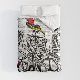 Calavera Cyclists | Skeletons on Bikes | Day of the Dead | Dia de los Muertos | Dictionary Text | Comforters