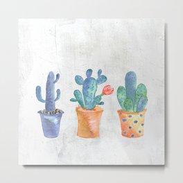 Three Blue Cacti Metal Print