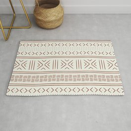 rust on bone mud cloth Rug