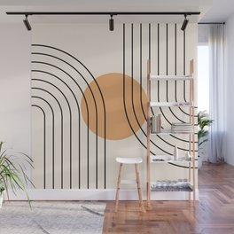 Geometric Lines in Black and Beige 14 (Rainbow and Sun Abstraction) Wall Mural