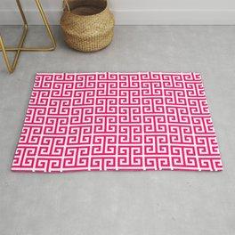 Hot Pink and White Greek Key Pattern Rug