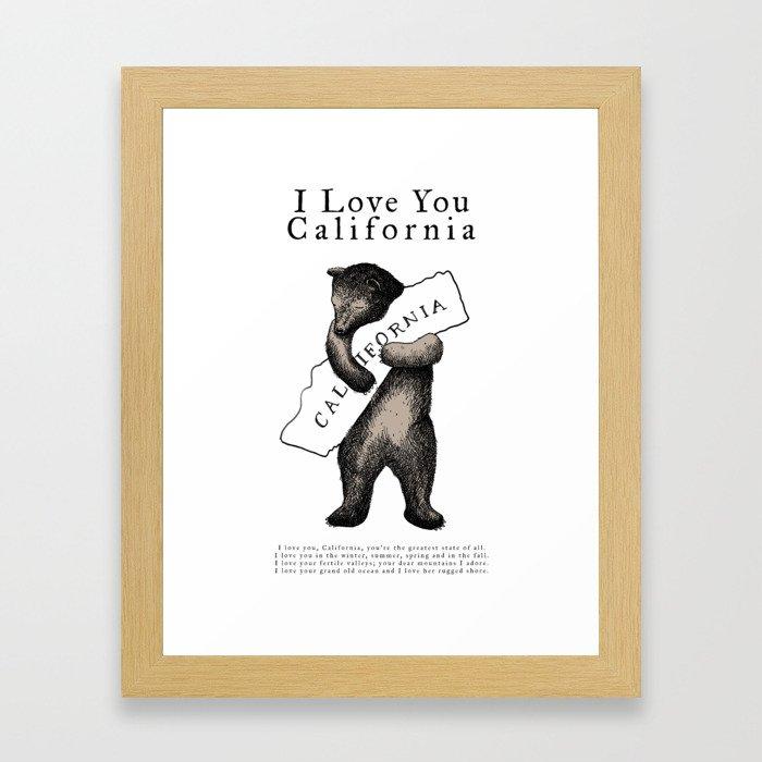 i love you california Gerahmter Kunstdruck
