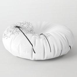 Black And White Dandelion Sketch Floor Pillow