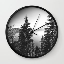 Mountain Lake Forest Black and White Nature Photography Wall Clock