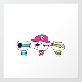 Three Pastelly Pirates Art Print