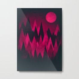 Dark Triangles (Peak Woods) Abstract Grunge Mountains Design (red/black) Metal Print