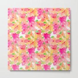 Watercolor flowers pattern Metal Print