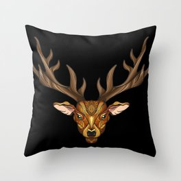 Deer Park- MI_Brown on Black Throw Pillow