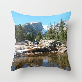 Watercolor Landscape, Dream Lake 01, RMNP, Colorado Throw Pillow