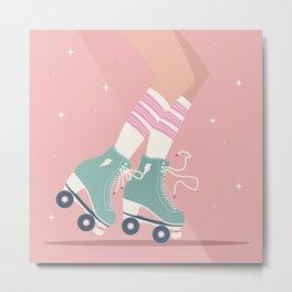 Roller skate girl 001 Metal Print