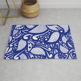 Peacock Blue Doodle Pattern Rug