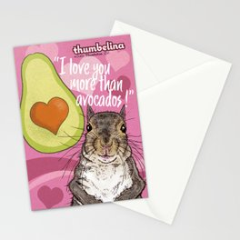 Little Thumbelina Girl: I Love You More Than Avocados! Stationery Cards