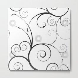 Black and Gray Swirls and Circles Metal Print