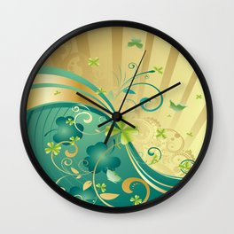 Gold and Green Shamrock Background Wall Clock