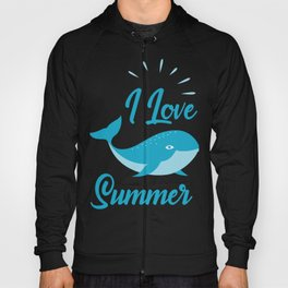 I Love Sumer With Cute Whale Fish Hoody