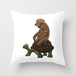 Sloth Rides A Turtle - Speed Is Overrated Throw Pillow
