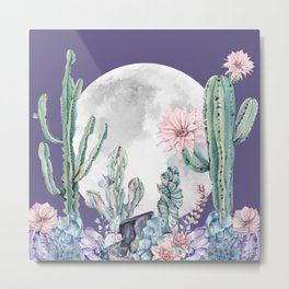 Desert Nights Gemstone Oasis Moon Purple Metal Print