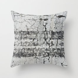 Urban Texture Photography - Road Markings Tire Tracks Throw Pillow