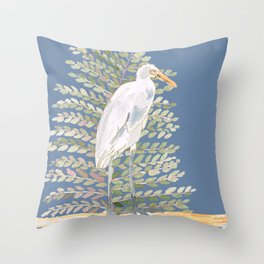 Peaceful Egret Throw Pillow