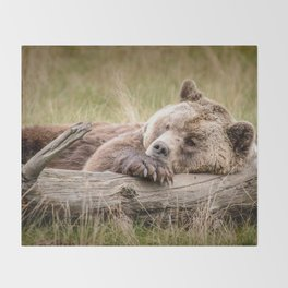 Big Beautiful Grizzly Bear Relaxing In Green Meadow Close Up Ultra HD Throw Blanket