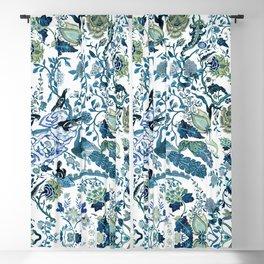 Blue vintage chinoiserie flora Blackout Curtain