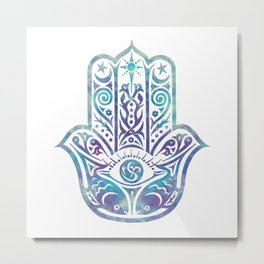 Colorful Fish Hamsa Hand Metal Print