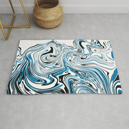 Abstract Black & Blue Topographic map Rug
