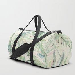Green Tropical Leaves Duffle Bag