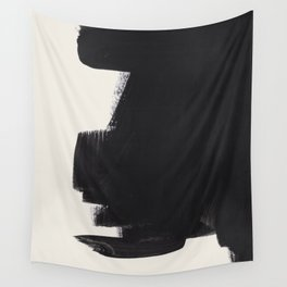 Mid Century Modern Minimalist Abstract Art Brush Strokes Black & White Ink Art Colorfield Wall Tapestry
