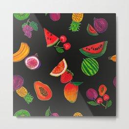 Hand drawn fruity summer time pattern black background Metal Print