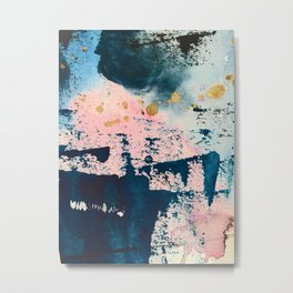 Candyland: a vibrant, colorful abstract piece in blue teal pink and gold by Alyssa Hamilton Art Metal Print