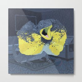Black and Yellow Frilled Lizard in a Grey Room Metal Print