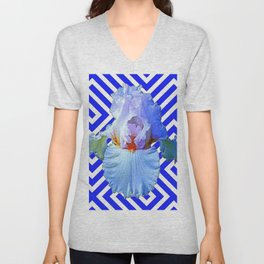 MODERN BLUE & WHITE ART DECO PATTERN IRIS Unisex V-Neck