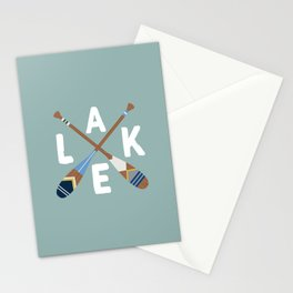 LAKE LIFE Painted Paddle Oars Stationery Cards
