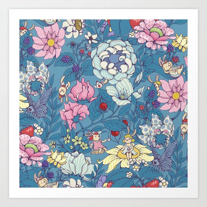 Garden party - lady gray version Art Print