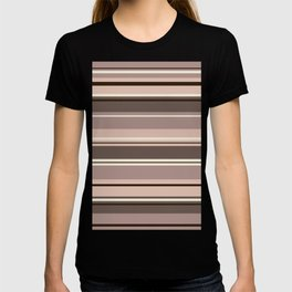 Mixed Striped Design Browns Taupe Creams T-shirt