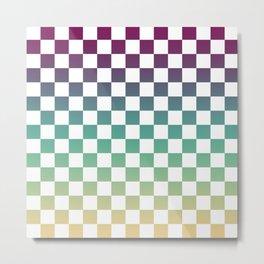Multicolor Gradient Checker Metal Print