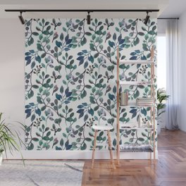 Jade and Succulent Watercolor Plant Pattern Wall Mural