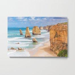 Twelve Apostles rocks on  Great Ocean Road, Australia Metal Print