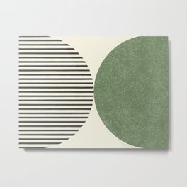Semicircle Stripes - Green Metal Print