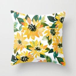SUNFLOWER POWER Yellow Floral Throw Pillow