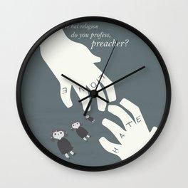 the night of the hunter, minimalist movie poster, Charles Laughton, Robert Mitchum, film wall art Wall Clock