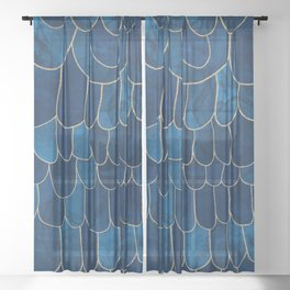 Stratosphere Sapphire // Abstract Blue Flowing Gradient Gold Foil Cloud Lining Water Color Decor Sheer Curtain