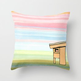 Pink Stripes Sunset Sky with House 78 Throw Pillow