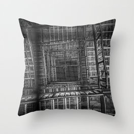 Observation Tower From Top To Bottom View bw Throw Pillow