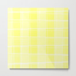 Delicate intersections of light and yellow lines on a pastel background. Metal Print