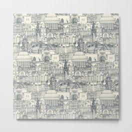 Edinburgh toile indigo pearl Metal Print