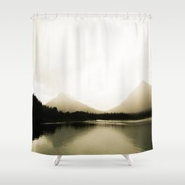 Golden Landscape Shimmering Lake and Foggy Mountains Shower Curtain