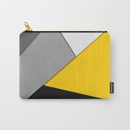 Simple Modern Gray Yellow and Black Geometric Carry-All Pouch
